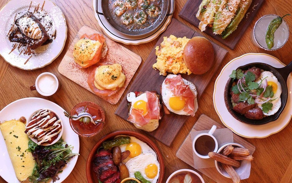 Image of brunch served and NYC Spanish Bar.
