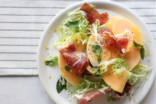 Melon with Iberian Ham and Fresh Herbs – a seasonal Market menu dish at Boqueria
