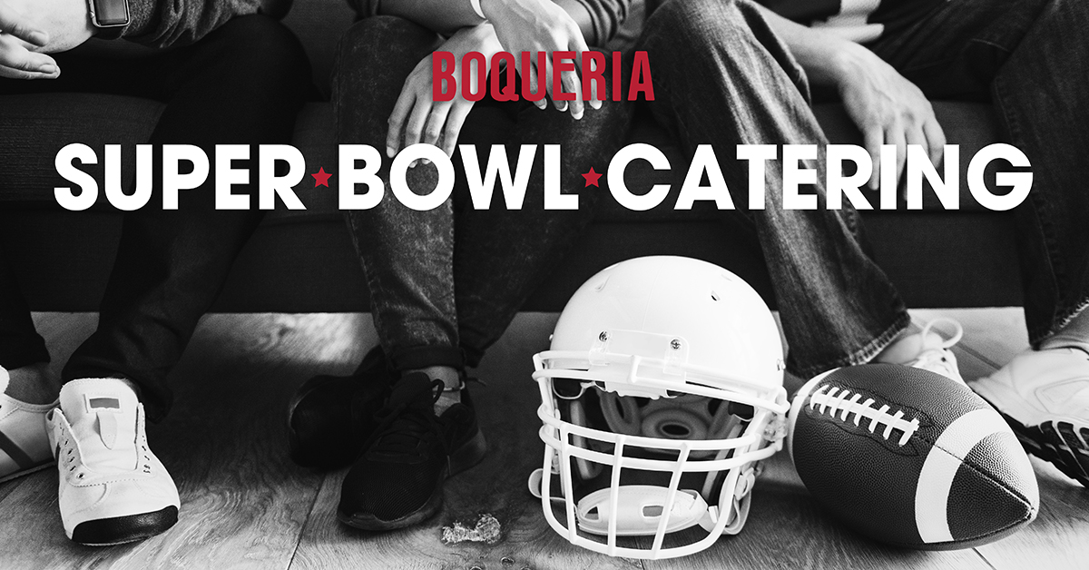 "Men sitting on a couch with a football and a football helmet with the text ""Super Bowl Catering"" and Boqueria's red logo."